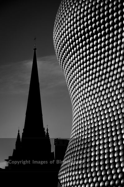 The iconic Selfridges building at The Bullring Shopping Centre, with St Martins Church, Birmingham.