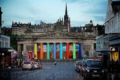 Evening Light Falls on Traffic in Hanover Street and the Colourful Pillars of the Scottish National Gallery