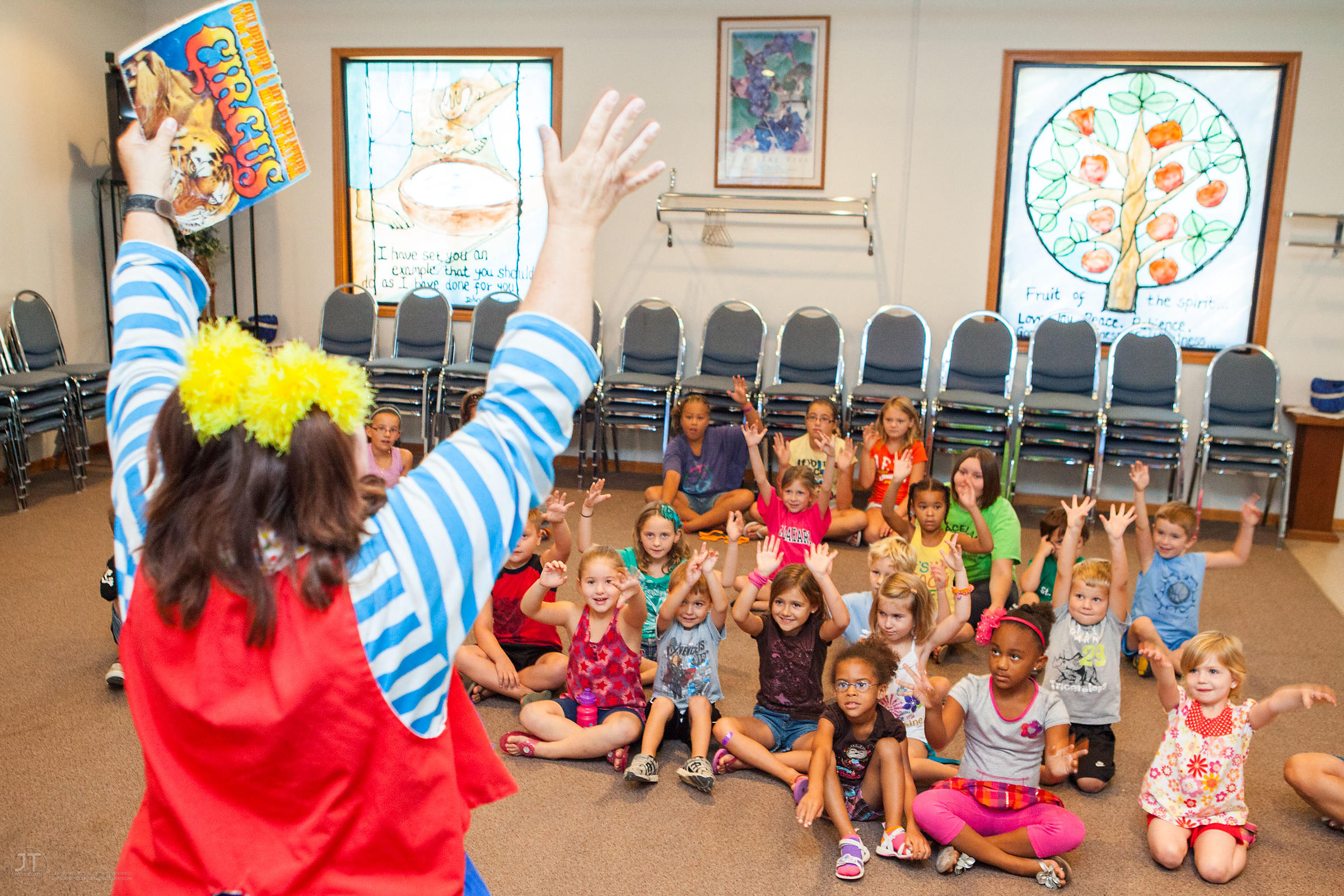 Ms. Skeeter, a clown performer with the Culpepper-Merriweather Great Combined Circus entertains children at the Graceland Chu...