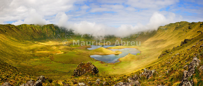 The volcanic crater (Caldeirão) with a beautiful lake on the top of Corvo island. Azores islands, Portugal