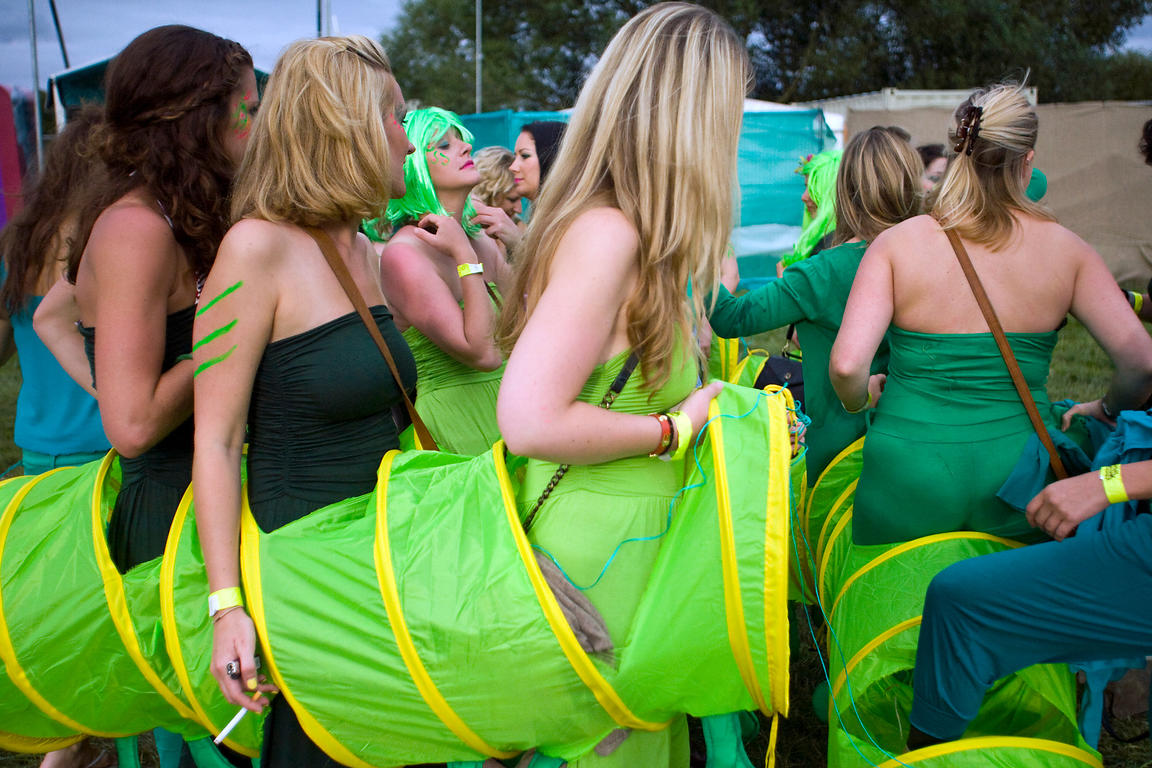 UK - Standon - Girls dress in a communal costume at the Standon Calling Festival