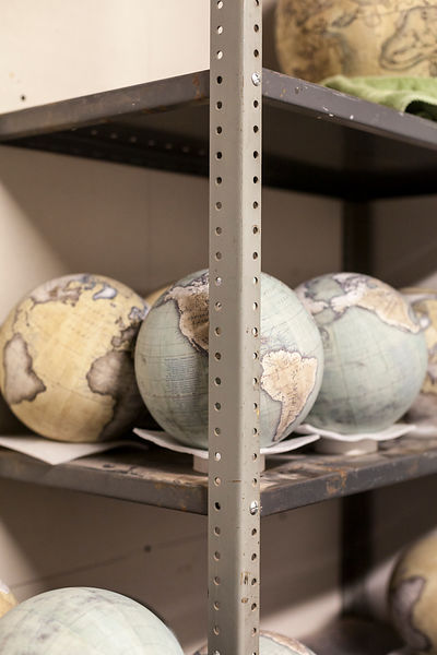 UK - London - Globes in the storeroom at Bellerby and Co. Globemakers