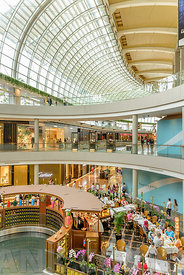 SINGAPORE - OCTOBER 09, 2016:  The interior of the shopping mall of Marina Bay Sands Hotel at Marina Bay Sands, Singapore.