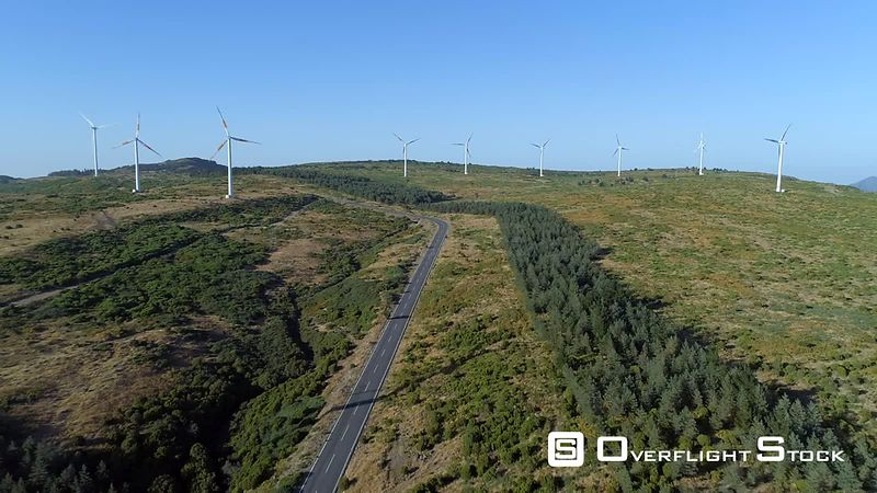 Wind Farm Sustainable Electrical Energy Madeira Island Drone Video Portugal