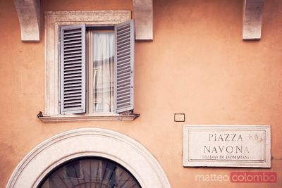 Piazza Navona sign on wall, Rome, Italy