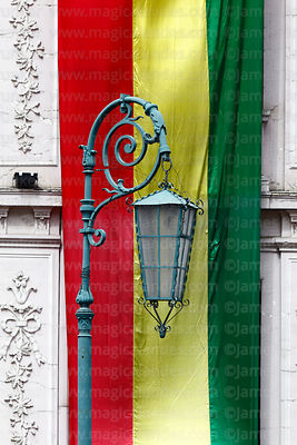 Old fashioned street lamp and Bolivian flag, Plaza San Francisco, La Paz, Bolivia