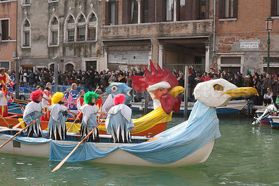 Seagull and Cockerel decorated boats in the Venice Carnival Water Parade