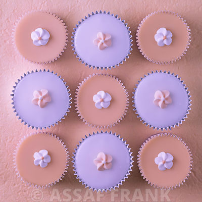 Cupcakes with flower shaped decorations