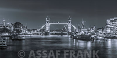 Tower Bridge and HMS Belfast at night