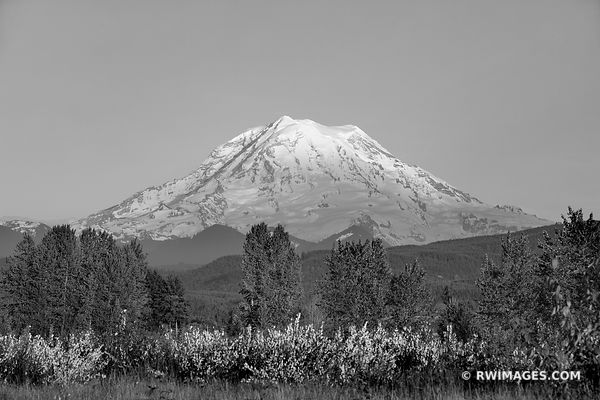 SUNSET MOUNT RAINER WASHINGTON BLACK AND WHITE