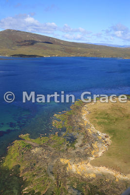 Coastal landscape from the air, Saunders Island, Falkland Islands