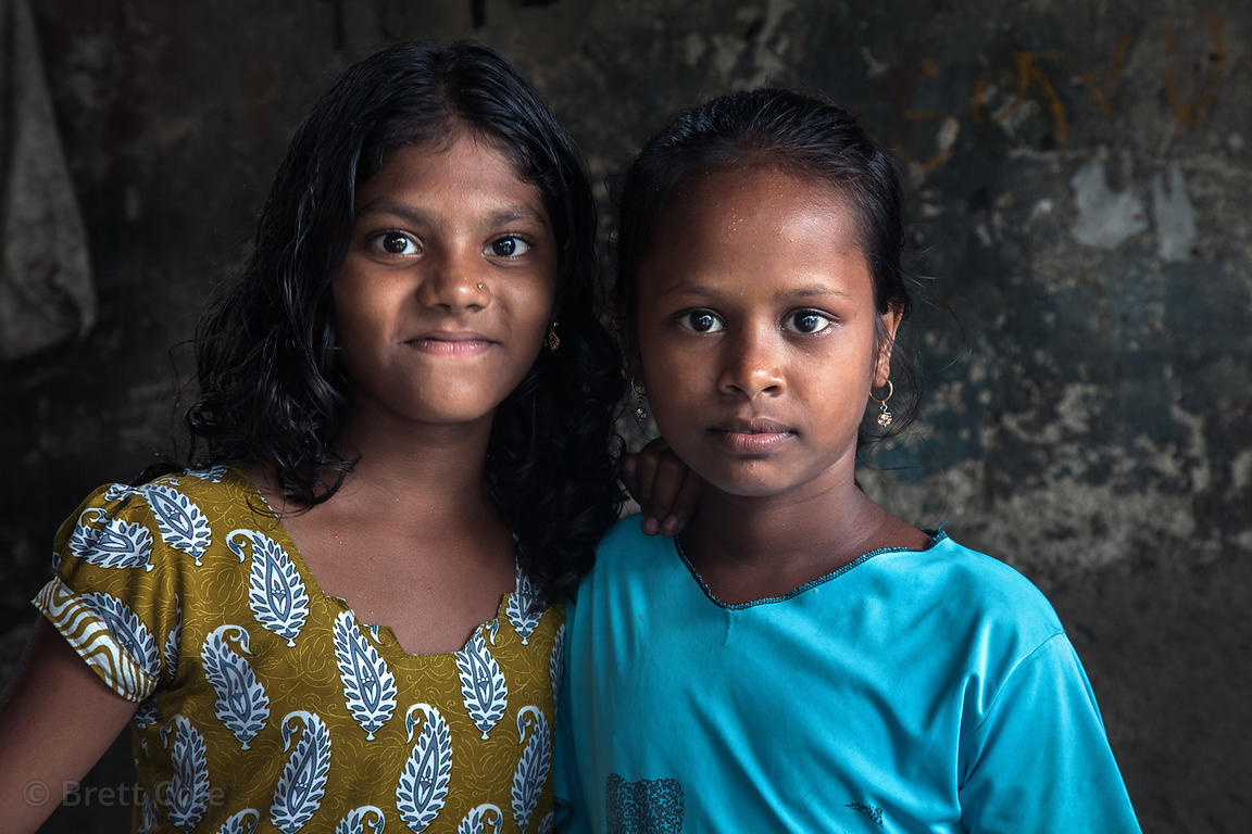 Portrait of children in the Dharavi slum, Mumbai, India.