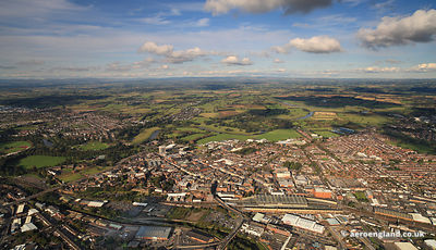 Panoramic wide angle aerial photograph of Carlisle Cumbria England UK