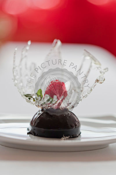Chocolate dessert served with raspberry and sugar decoration