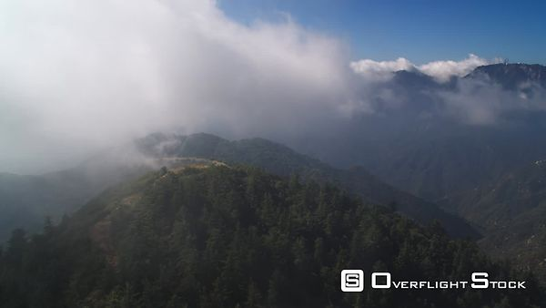 Flying Through Clouds Over the Angeles National Forest in the San Gabriel Mountains, California.