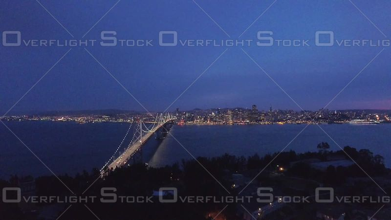 San Francisco Bay Bridge Flyover Treasure Island Evening Sky