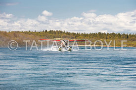 Floatplane at takeoff