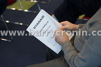 21st September, 2017.Ryanair AGM at Ryanair HQ, Swords. Pictured is a shareholder at the AGM.Photo: BARRY CRONIN/www.barrycro...