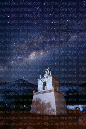 Milky Way Galactic Centre above belfry of St Peter / San Pedro church, Guañacagua, Region XV, Chile