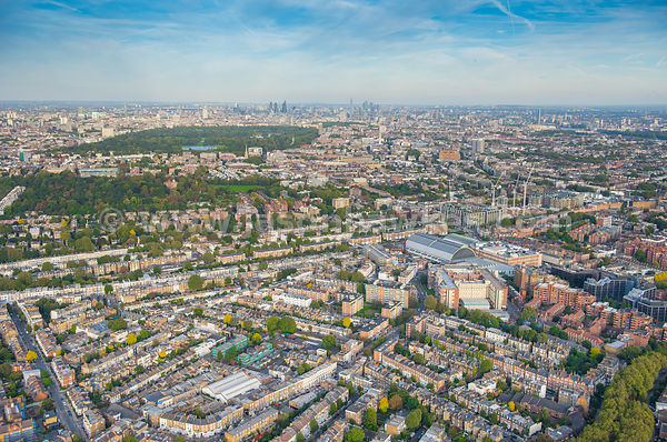 Aerial view of Kensington Olympia, London