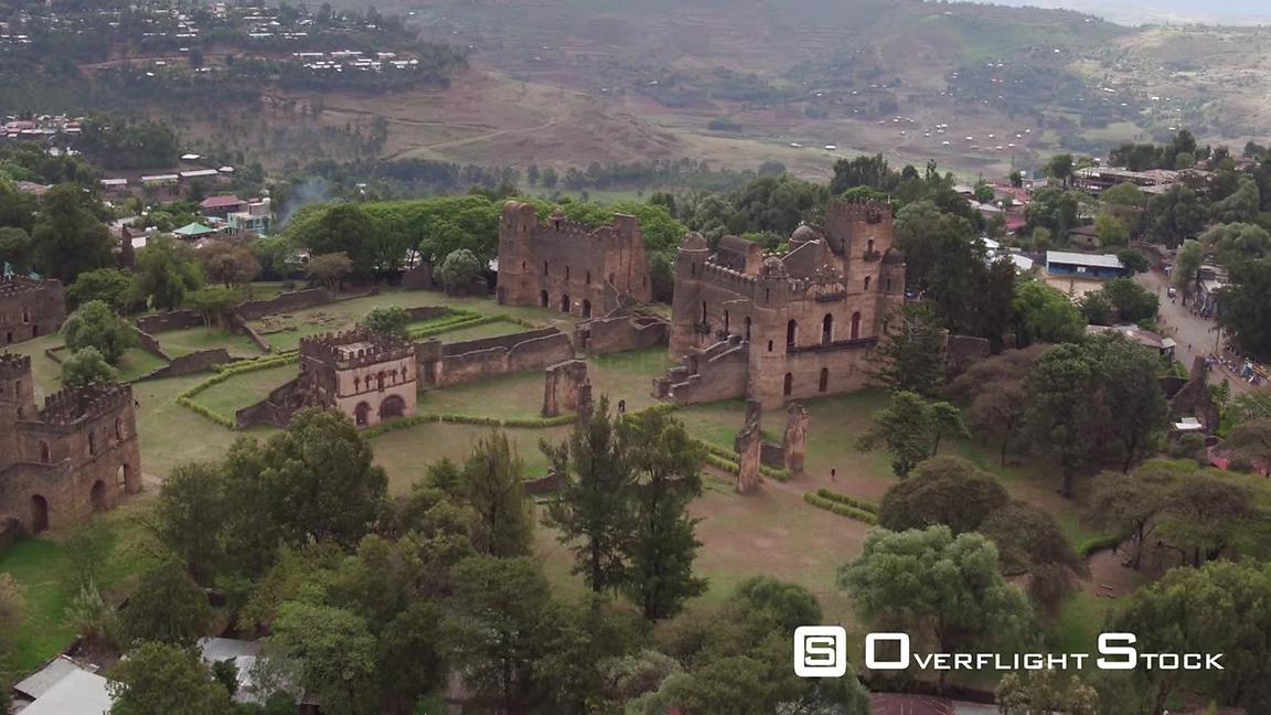 Drone Video Gondar in northern Ethiopia. Fasil Ghebbi fortress and palace compound. Amhara State.