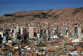 View of high rise buildings along El Prado in city centre from Killi Killi viewpoint, La Paz , Bolivia