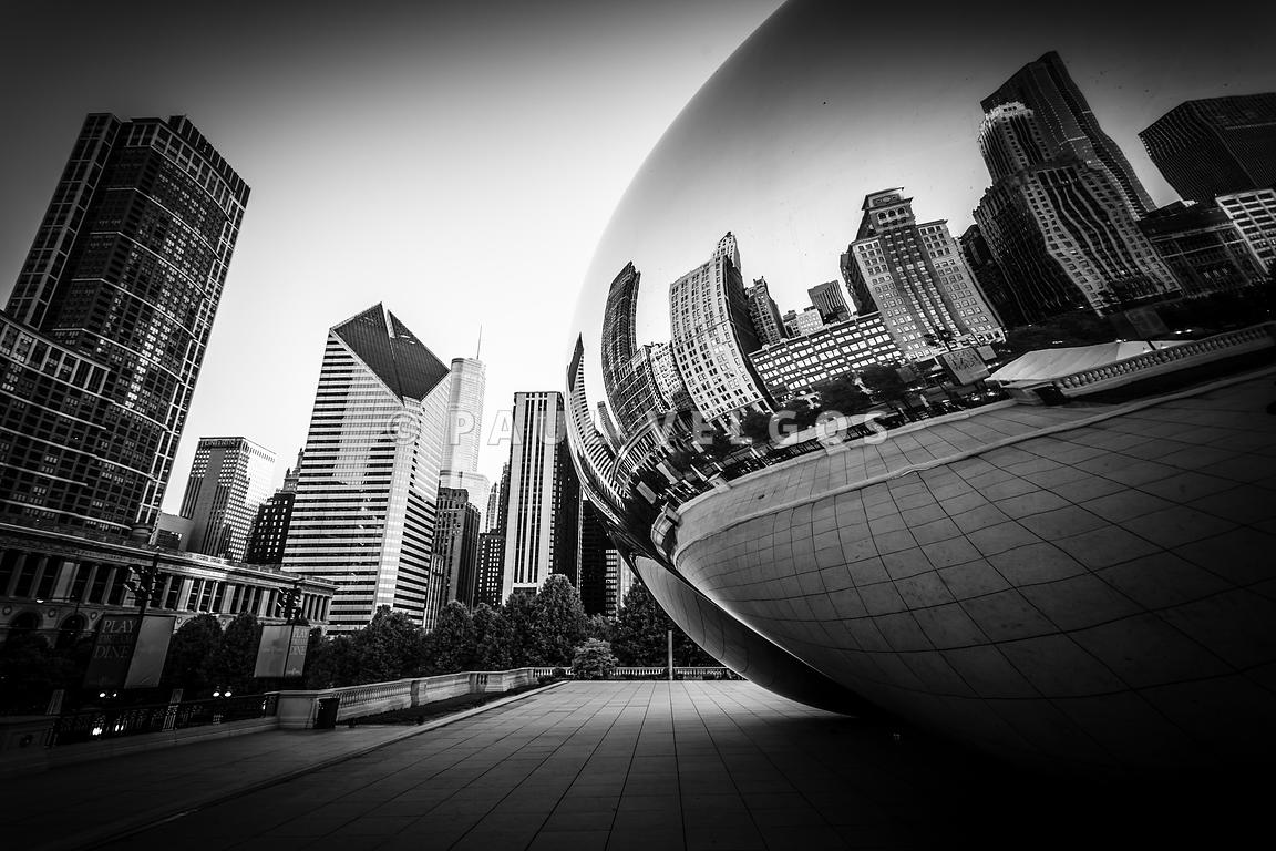 Chicago Bean Cloud Gate in Black and White