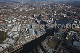 Manchester high level  aerial photograph of Salford Quays and the BBC Media Manchester Manchester high level view of Salford ...
