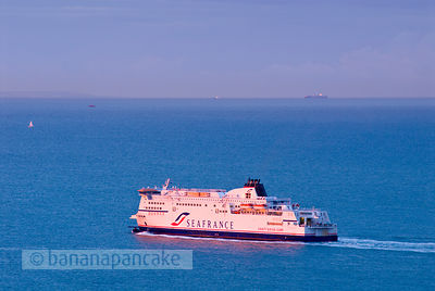 SeaFrance ferry departing Dover at sunrise