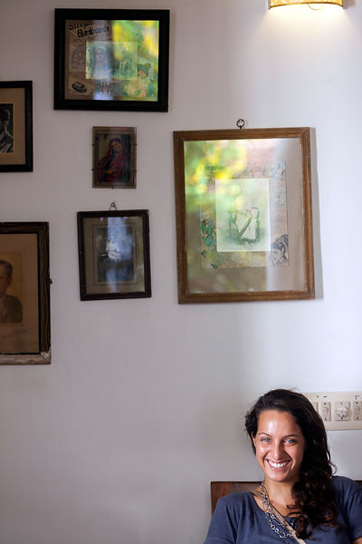 Eva, the owner of the Cafe Des Arts, Pondicherry, India.