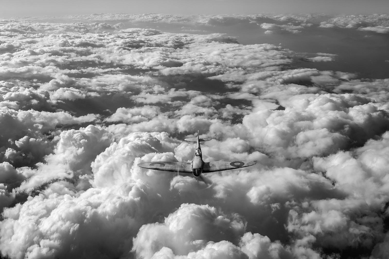 High flight Spitfire black and white version