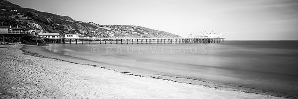 Malibu Pier Black and White Panoramic Photo