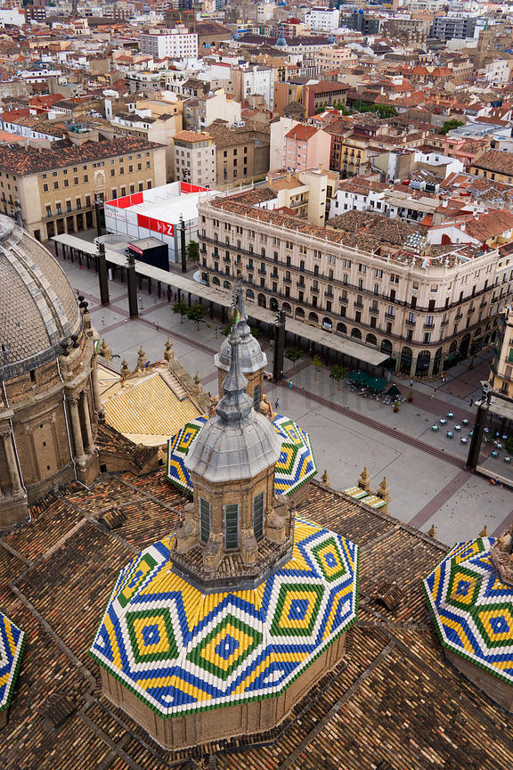 View of the Plaza del Pilar from a tower of Nuestra Senora del Pilar Church Zaragoza Aragon Spain