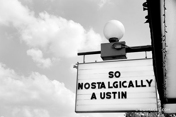 SOUTH CONGRESS AVENUE AUSTIN TEXAS BLACK AND WHITE