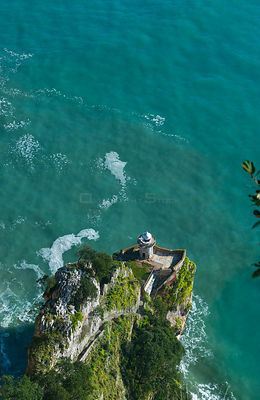 Aerial view of Lighthouse of el Caballo, Monte Buciero.  Santooa, Victoria and Joyel Marshes Natural Park, Cantabria, Spain, ...
