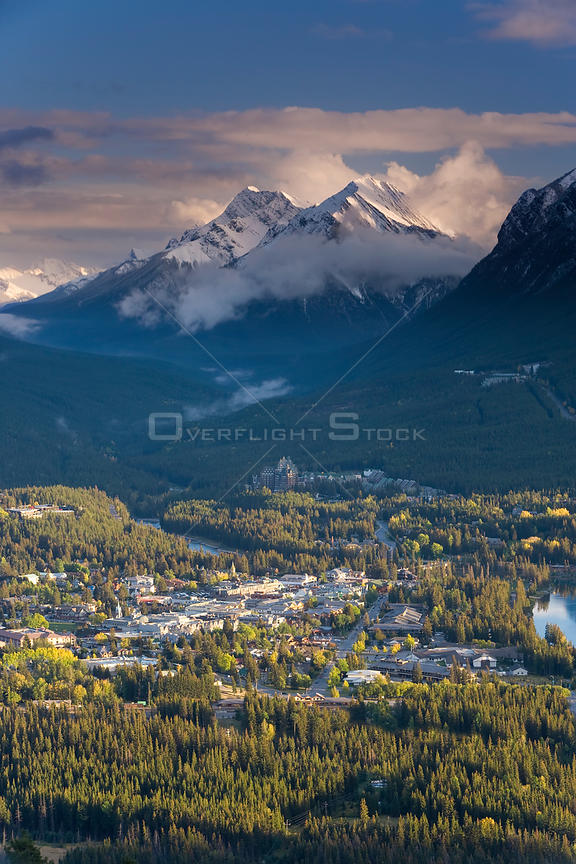 Elevated view of Banff townsite, Rocky mountains, Banff National Park, Alberta, Canada, 2007