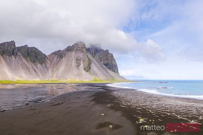 Aerial drone view of Vestrahorn mountain, Stokksnes, Iceland