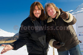 Steve Lee of The Gotthard Band with Leo Leoni on frozen lake of St. Moritz