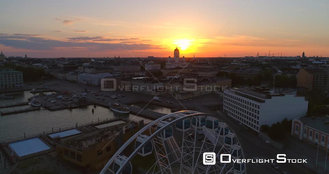 Sunset Cityscape, Aerial View of the Market Square, the Cathedral, Kruununhaka and the South Harbour, on a Sunny Summer Eveni...