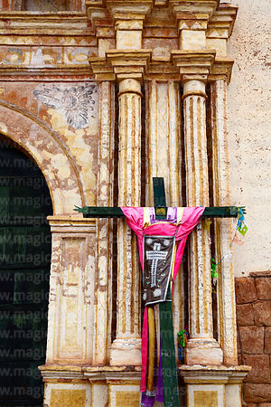 Cross outside side entrance of Church of the Immaculate Conception, Checacupe, Cusco Region, Peru