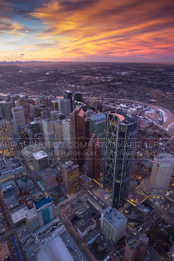 Downtown Calgary with a chinook sunset
