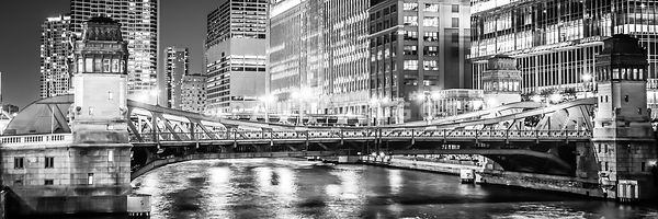 Chicago Lasalle Street Bridge at Night Panorama Photo