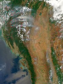EARTH Bangladesh / Myanmar -- 21 Mar 2005 -- Scores of fires clog the sky above Bangladesh, east India, and Myanmar with thic...