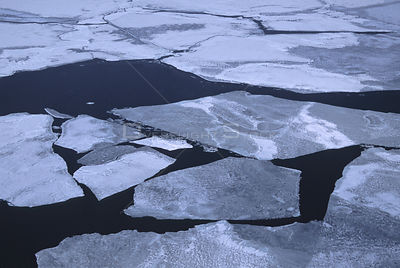 Aerial view of  ice conditions between Prince Edward Island and the Magdalen Islands in the Gulf of St. Lawrence