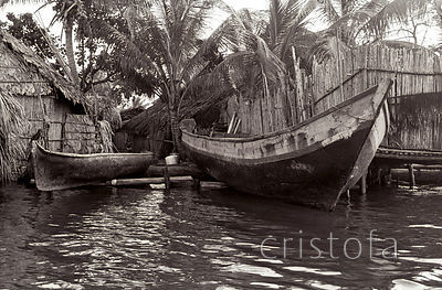 dugout canoes on the San Blas Islands
