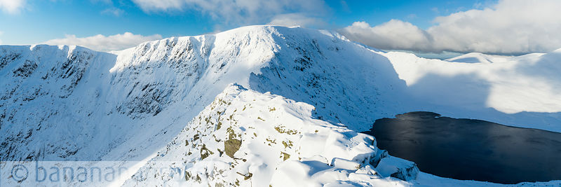 Striding Edge in winter, Helvellyn, Lake District - BP3332