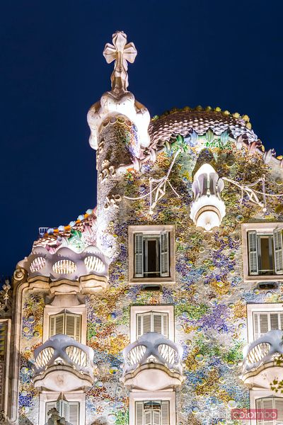 Facade of casa Batllo by Gaudi, Barcelona, Spain