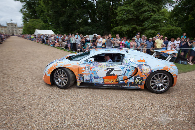 Lord Pembroke and the 'PopBangColour' Bugatti Veyron at the Wilton Classic and Supercar 2013 - Wilton House, Salisbury, Wilts...