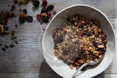 Bowl of Homemade Granola with Nuts, Seeds, Raisins & Cranberries
