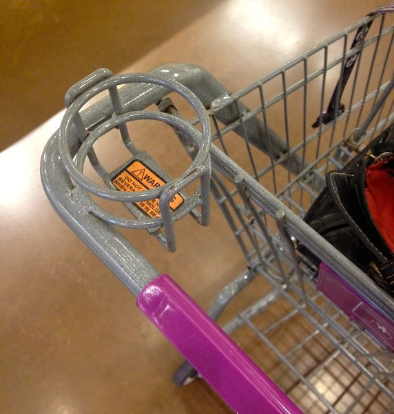 Shopping cart with cup holder